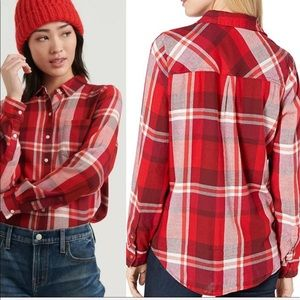 Lucky Brand Classic One Pocket Plaid Shirt Large